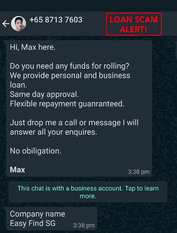 WhatsApp Message from Illegal Lender